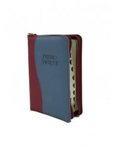 Biblia Warszawska, mała, oprawa miękka - skóropodobna, zamek, srebrzenia lub złocenia, wycięcia (indeks ksiąg)