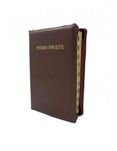 Biblia Warszawska, duża, oprawa miękka - skórzana, zamek, złocenia, wycięcia (indeks ksiąg)