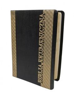 Biblia Ekumeniczna z księgami deuterokanonicznymi, oprawa miękka, skórzana, złocenia